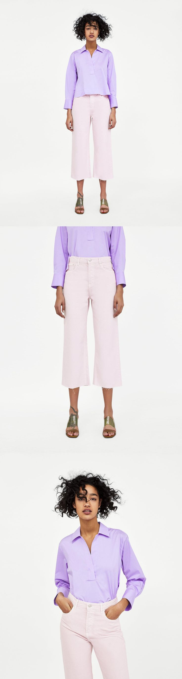 Jeans High Waist Culotte Lilac // 49.90 USD // Zara // The High Waist Culotte in Lilac. High waist, straight leg culottes. Light faded effect. They feature five pockets and metal zip and top button fastening in the front. HEIGHT OF MODEL: 178 CM / 5′ 10″