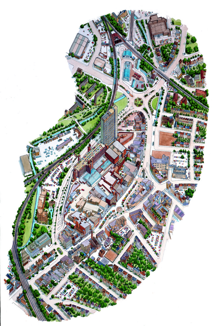Lewisham town centre watercolour 3D map from Fitzpatrick Woolmer