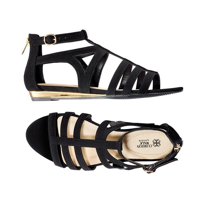 """Touch of Metallic Demi Wedge. Ciao, Bella!Inspired by theITALIAN FLAIR FOR THE DRAMATIC, theSPRING SIGNATURE COLLECTIONturns up the volume withSPLASHY PRINTS, BOLD COLORS, ULTRA-FEMININEsilhouettes andhigh-impact accessories.FEATURES•Leather-like black strappy open-toe sandal•1"""" mirrored metallic gold demi wedge• Adjustable side buckle and back zipper for easy on/off• Hidden gore under side buckle for additional stretch•Cushion Walk®..."""