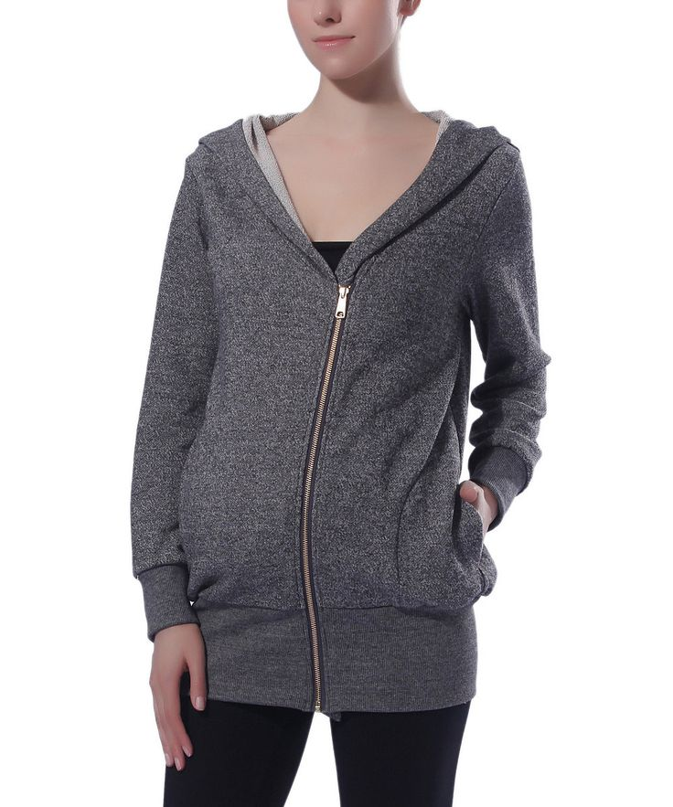 MOMO Maternity Gray Lexi Zip-Up Maternity Hoodie | Something special every day