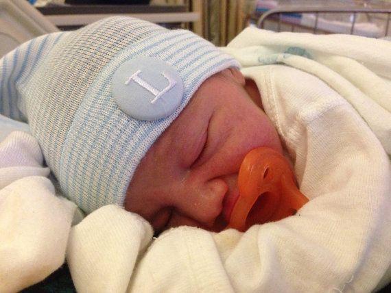 Baby Boy Hospital Hat by HugsandStitchesbaby on Etsy, $12.00