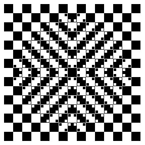 The floor appears to bulge out, even though all the squares in the figure are equal.