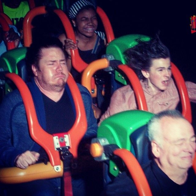 Josh McDermitt and Chandler Riggs on Kingda Ka at Six Flags Great Adventure August 18, 2014 - (joshmcdermitt Instagram)