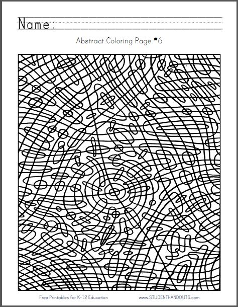 Abstract Coloring Page 6 Free to print (PDF file