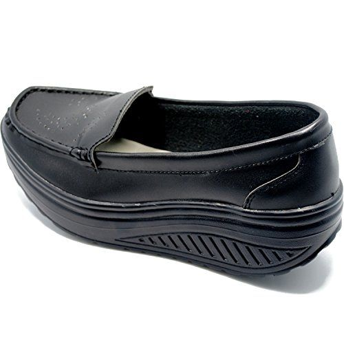 URUOI Women's Wedge Slip On Platform Lose Weight Nurse Shoes Shake Shoes Toning Shoes 6 B(M) US Black 36... This kind of Toning Shoe is perfect for the ladies who want to lose weight and keep good shape. Just put it on and walking and lose weight !!!Select high-quality leather, through the design process, more wear-resistant, soft, breathable.Unique ship rocking shoe design, both comfortable sports......http://bit.ly/2okFfTf