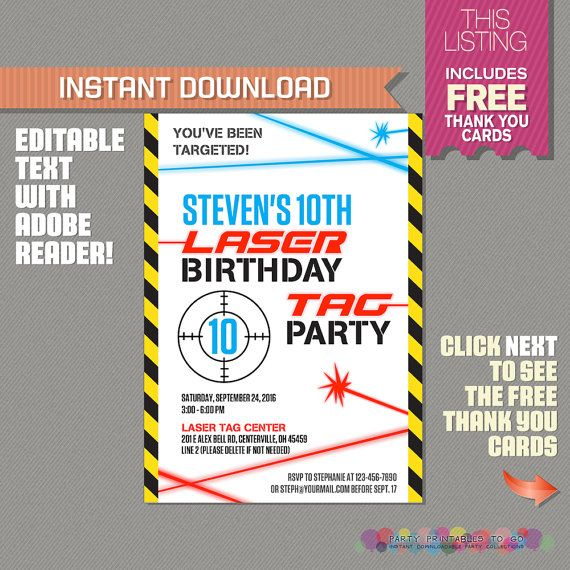 Laser Tag Invitation with FREE Thank you by PartyPrintables2go