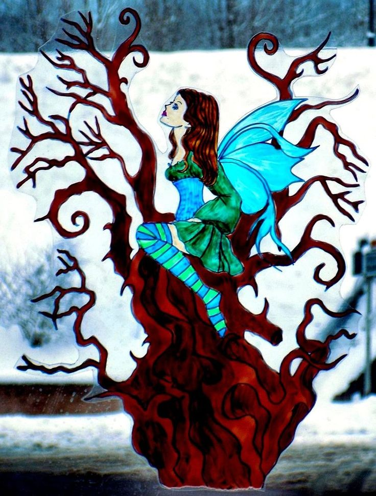 WICOART WINDOW COLOR STICKER STATIC CLING STAINED GLASS FAIRY FEE ARBRE MORT