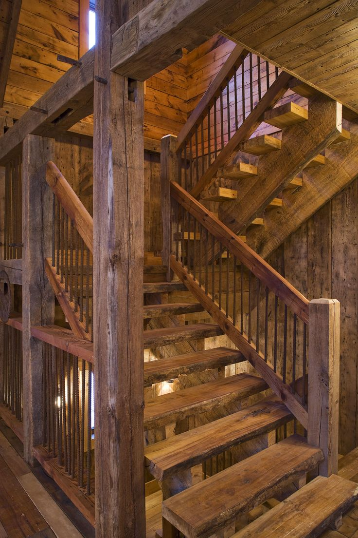Reclaimed Wood Stairway. Timber Stair Treads. Metal Railing Using
