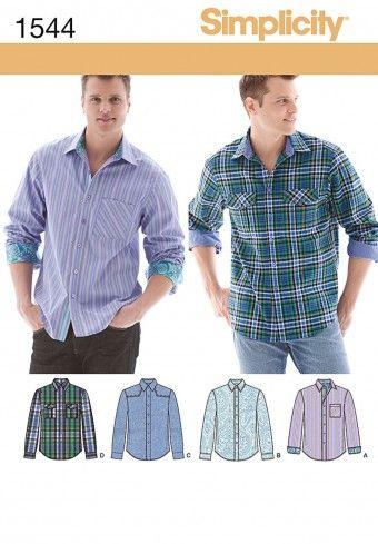 Simplicity - 1544 patroon Overhemd in verschillende variaties | Naaipatronen.nl | zelfmaakmode patroon online