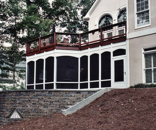 Hip Roof Pergola Over Garage Doors From Atlanta Decking: Screened Porch With Deck Above