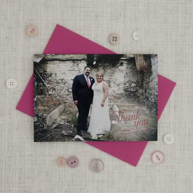 Pretty Pink Photo Thank You Card - Be My Guest