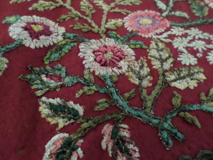 Antique Victorian Table Runner Red Felt Chenille Needle & Metal Work Floral