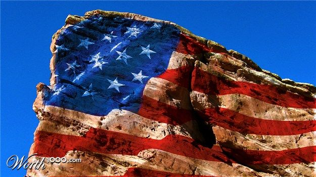 Nationalism 9 - Worth1000 Contests - American flag Photoshopped onto Red Rocks in Colorado, USA - I thought this was particularly appropriate given the troubles they are having in that state right now. Our thoughts are with them.