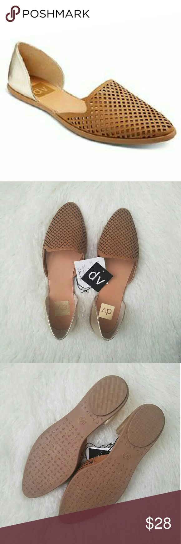 ***ENDS 12 PM ET! $ FIRM***   Tan & Gold Flats Two piece flats. Manmade materials. DV by Dolce Vita Shoes Flats & Loafers