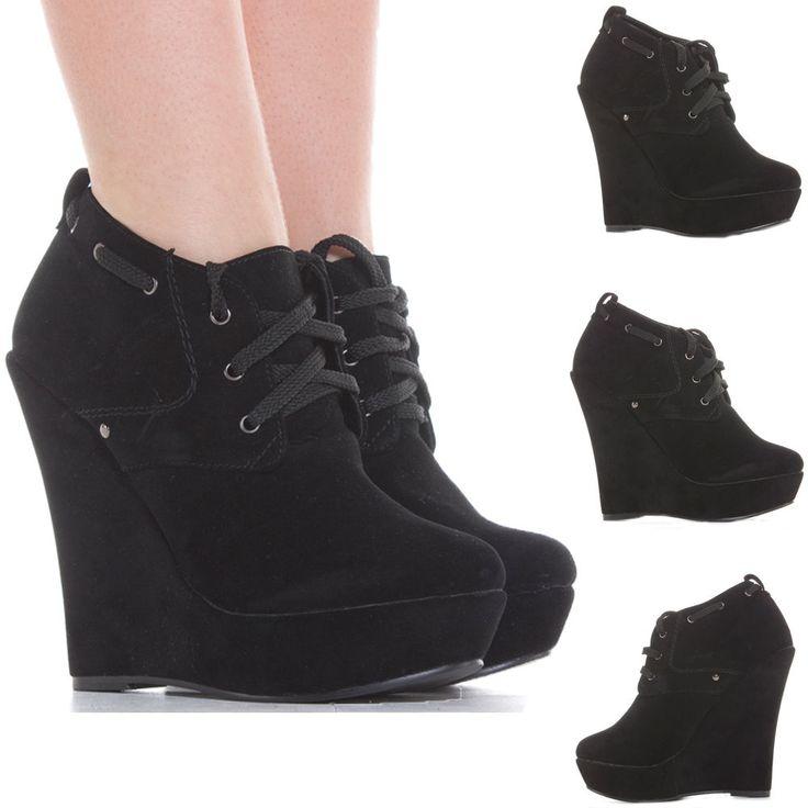 Ladies Wedge Shoes Zip Booties Wedges High Heel Platform Short Ankle Boots Size