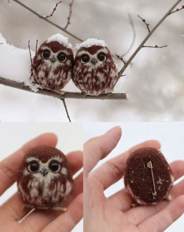 Felt snow owls! needle felt owl