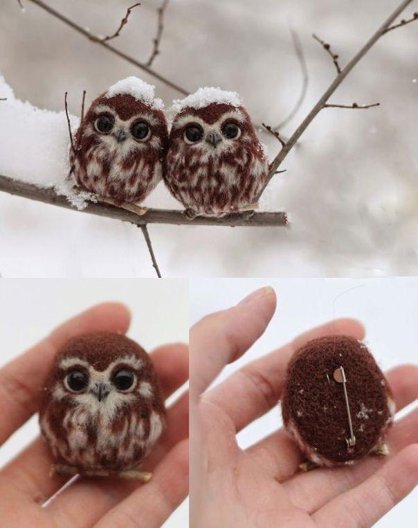 Felt snow owls by unknown