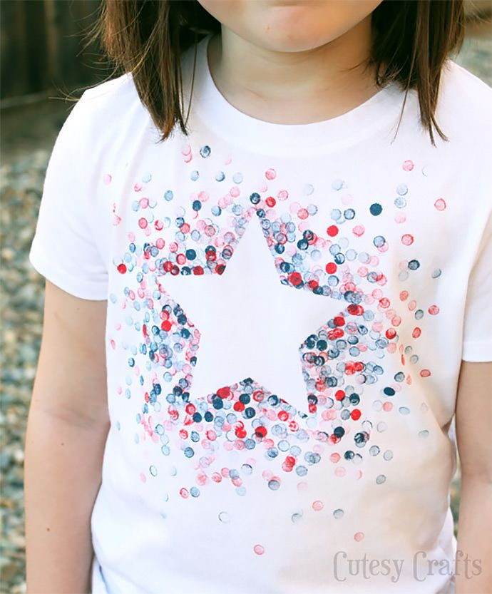 DIY Eraser Stamped Shirt via Cutesy Crafts