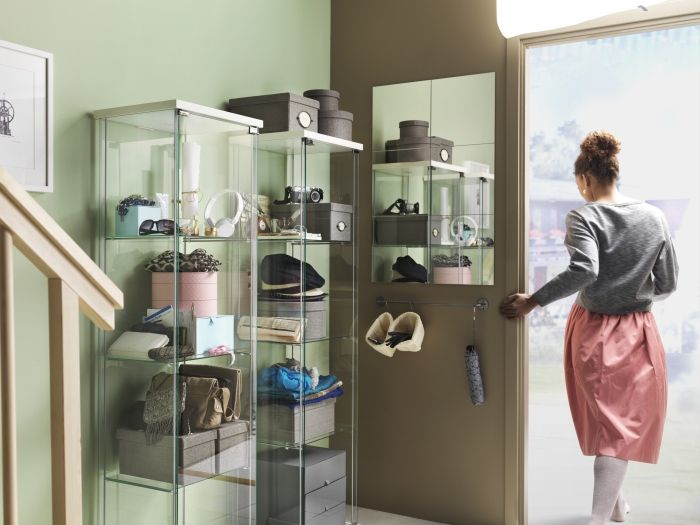 DETOLF Glass Door Cabinet White 43x163 Cm. Handbag StorageHandbag ...