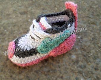 Nike Inspired tennis shoes Crochet pattern pdf newborn to 6t , booties , handmade , crocheted  download , sneakers , baby nike , swoosh