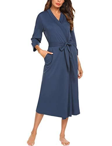 c136a6c679 MAXMODA Women Sleep Robe Shawl Collar Wrap 3 4 Sleeve Bathrobe Sleepwear  With Belt Cotton Sleepwear(Navy Blue M)