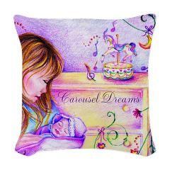 Carousel Dreams Woven Pillow > MoonDreams Music Merchandise www.cafepress.com/moondreamsmusic #pillow #colorful #mom #baby #carousel #dreams #sleep #lavender #purple #pretty