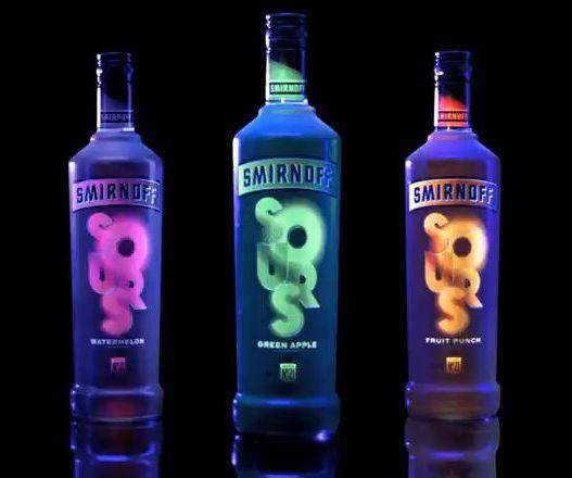 Smirnoff Sours (Glow-In-The-Dark Bottles): Sour Watermelon, Sour Fruit Punch & Sour Green Apple