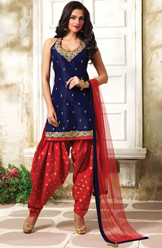 Decorous Navy Blue and Red Readymade Patiala Suit
