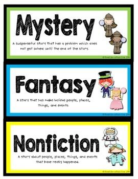 BOOK GENRE LABELS - FREEBIE!!! TeachersPayTeachers.com