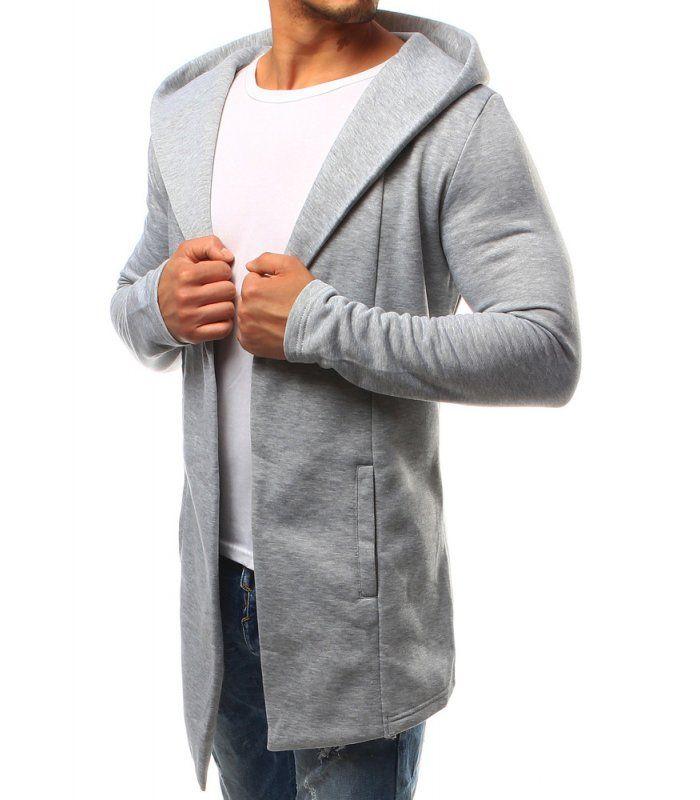 Pánsky šedý blejzer s kapucňou
