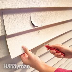 How to Replace Vinyl Siding   The Family Handyman.  Cracked or broken vinyl siding is no reason for despair.  A simple $5 tool gets the job done in 15-minutes.