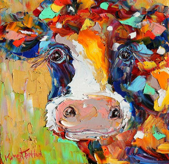 Original oil painting Colorful Cow Portrait by Karensfineart