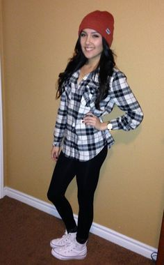 Perfect casual outfit - leggings, white chucks, flannel shirt.  Create the look with black leggings only $12.99 on Amazon.