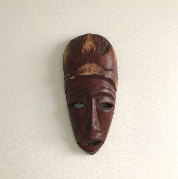 Vintage Carved Wooden African Mask Small Tribal Face Mask Etsy Wood Carving Faces Carving African Masks