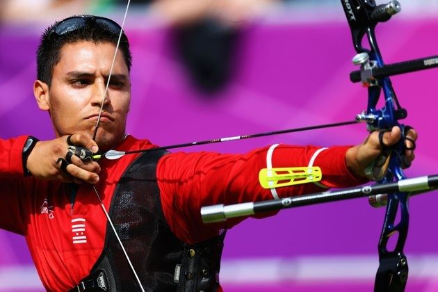 Luis Eduardo Velez of Mexico in action in the men's Team Archery Eliminations match between Mexico and Malaysia on Day 1 of the London 2012 Olympic Games at Lord's Cricket Ground on July 28, 2012 in London, England.  (