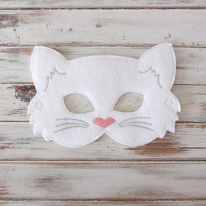 Kids Cat Mask Felt Mask Kitty White Black door AnnsCraftHouse