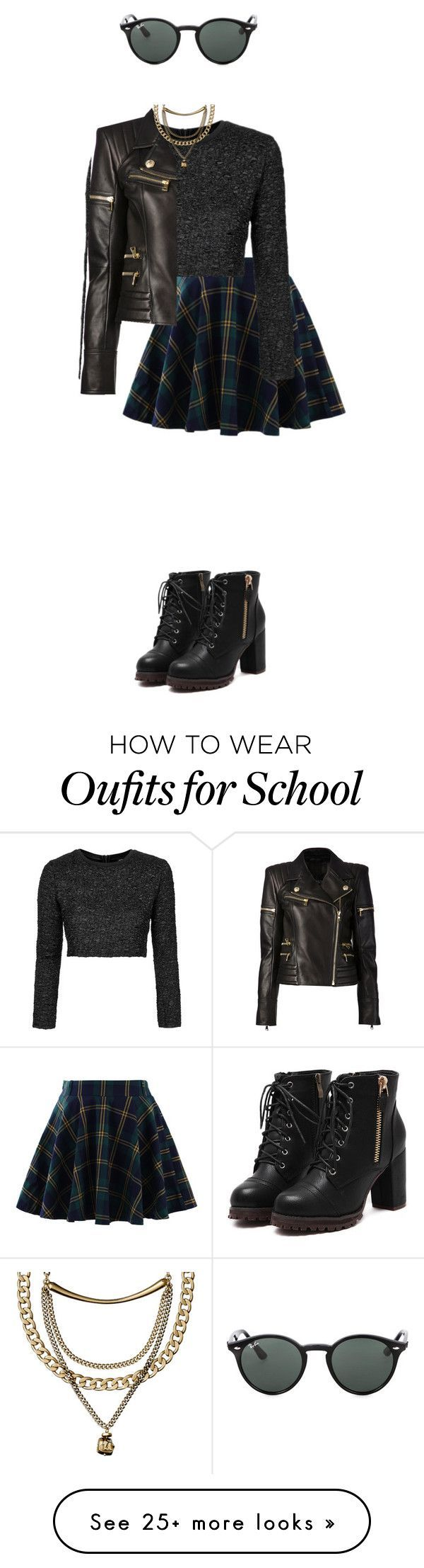 """the school badass"" by sushi-brain on Polyvore featuring Chicwish, Topshop, Balmain and Ray-Ban"