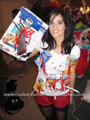 Homemade Cereal Killer Costume: I liked the idea of a cereal killer and wanted to make it cute so I looked online and saw that fake blood along with mini cereal boxes seemed to be the