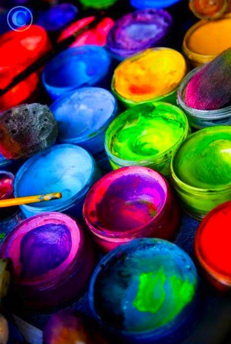 paintsColour, Painting Cans, Painting Art, Acrylics Painting, Painting Pots, Colors Art, Rainbows, Painting Colors, Bright Colors