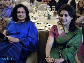 "Moushumi Chatterjee and Aparna Sen at Aparna Sen's book reading session at Taj Bengal for upcoming Bengali feature film ""Goyenar Baksho"" - a complete photo-feature on the innovative event at http://j.mp/goynar-baksho-taj-bengal"