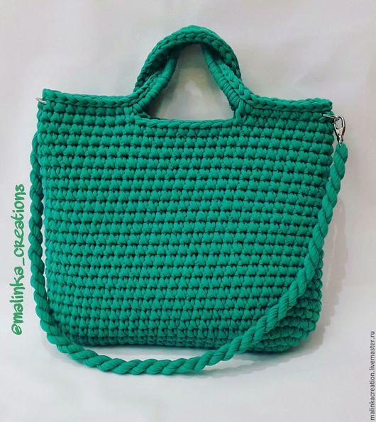 Стильная вязаная сумка Green Bag от Malinka_Creations