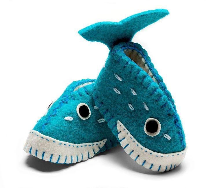 Whale Baby Booties - Wool Felt