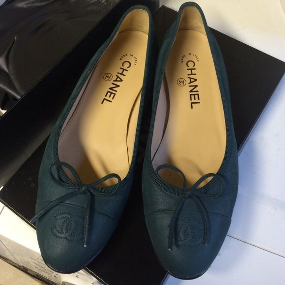 Chanel flats olive green Size 37.5 used twice Chanel flats. Comes with box CHANEL Shoes Flats & Loafers