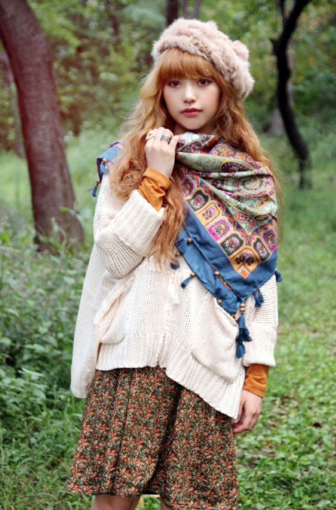 mori girl -- asymmetrically tied scarf