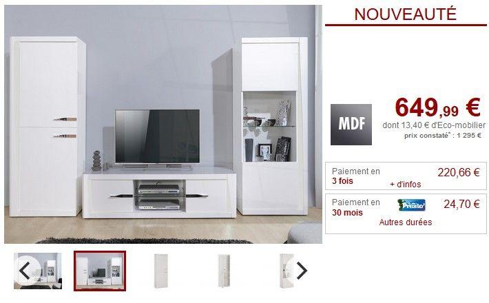 Mur Tv Spencer Leds Blanc Laque Pas Cher Meuble Tv Vente Unique Ventes Pas Cher Com Mur Tv Meuble Tv Television Murale
