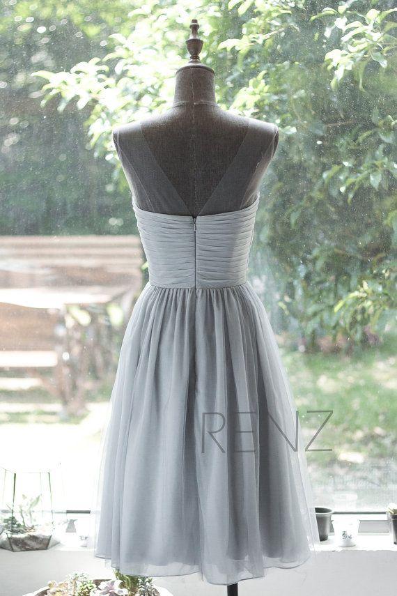 2015 Chiffon Bridesmaid Dress Grey Cocktail Dress Mesh by RenzRags