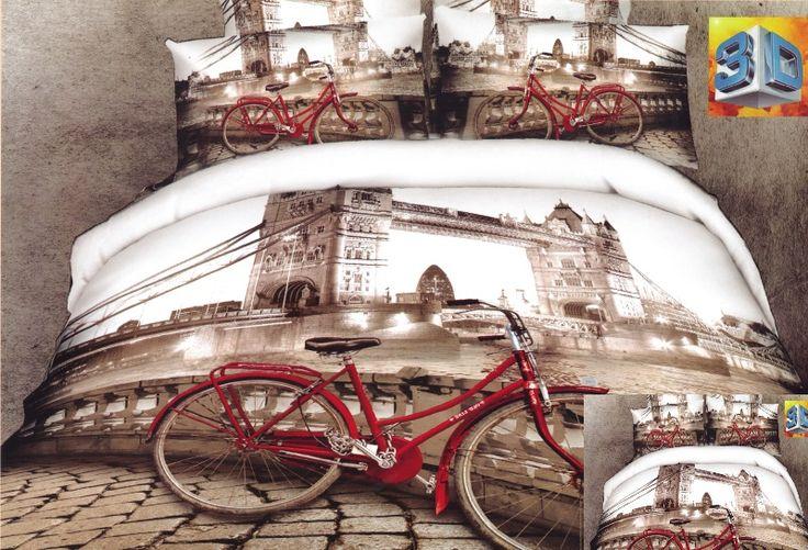 Miasto Paryż beżowa pościel bawełniana z czerwonym rowerem