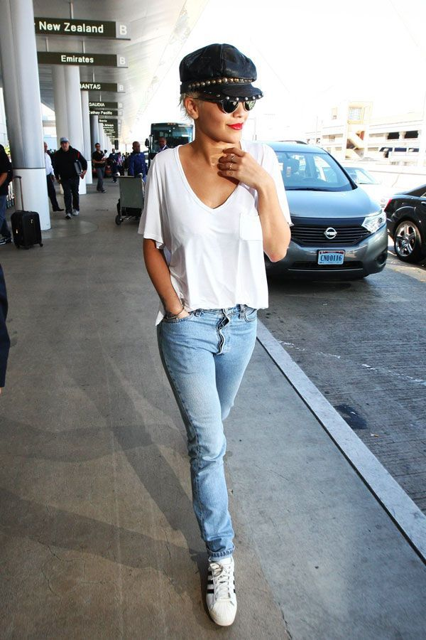 In Proud Defense Of Fashion's Laziest Outfit #refinery29  http://www.refinery29.com/celebrity-denim-outfits#slide-26  Rita Ora proves that the best accessory to a plain white tee and jeans is a bold lip color....