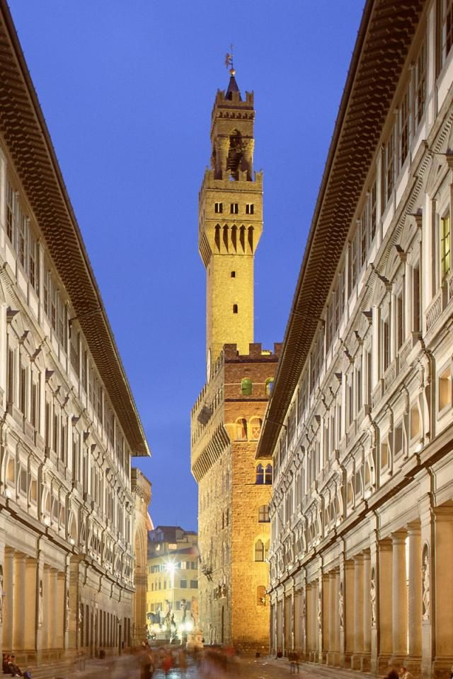 Uffizi Gallery and Palazzo Vecchio Tower , Florence, Italy