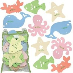 Iplay, Sea Friends Bath Toys. PVC Free! Includes 15 toys and mesh bag with suction cups.